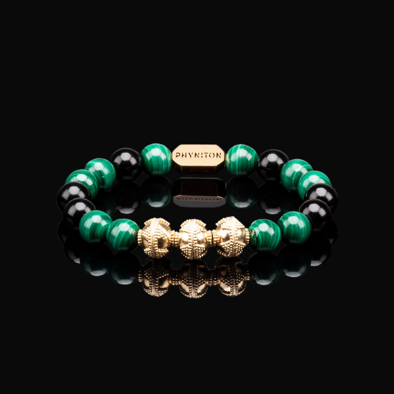 MALACHITE PREMIUM GOLD 10MM BRACELET