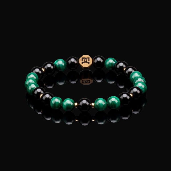 MALACHITE ESSENTIAL GOLD 8MM BRACELET