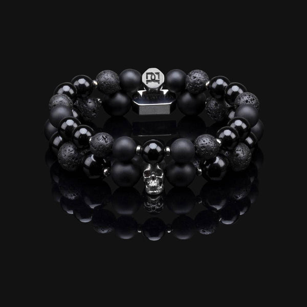 ONYX, LAVA BLACK GOLD PREMIUM SKULL STACK 10MM & 8MM