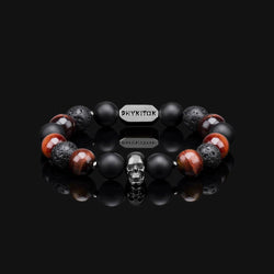 RED TIGER EYE & BLACK GOLD PREMIUM SKULL BRACELET 10MM
