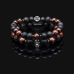 RED TIGER EYE BLACK GOLD PREMIUM SKULL STACK 10MM & 8MM