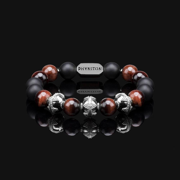 "RED TIGER EYE PREMIUM BLACK GOLD 10MM ""FIRE"" BRACELET"
