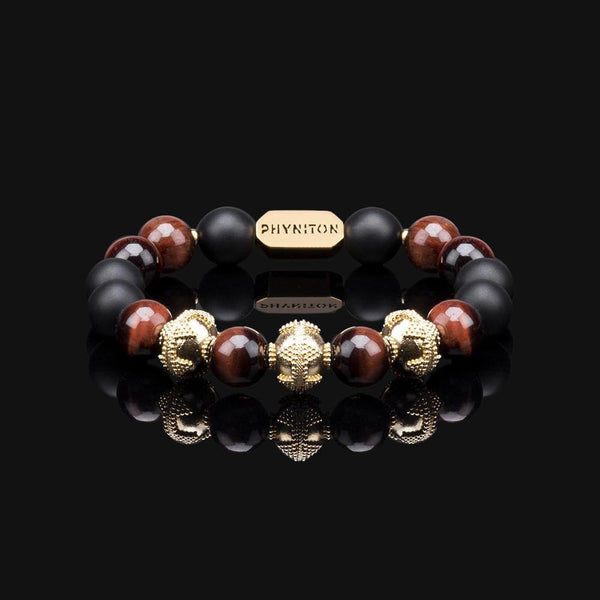 "RED TIGER EYE PREMIUM GOLD 10MM ""FIRE"" BRACELET"