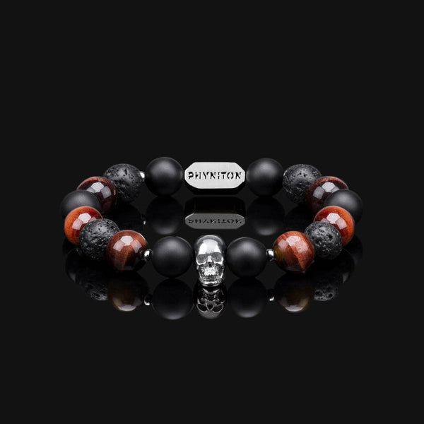 RED TIGER EYE & SILVER PREMIUM SKULL BRACELET 10MM