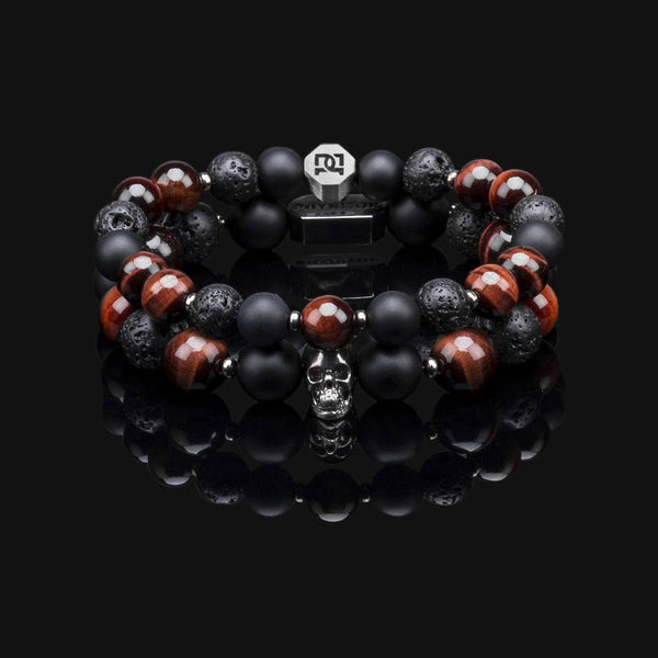 RED TIGER EYE SILVER PREMIUM SKULL STACK 10MM & 8MM