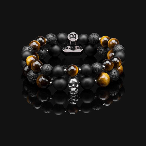 YELLOW TIGER EYE BLACK GOLD PREMIUM SKULL STACK 10MM & 8MM