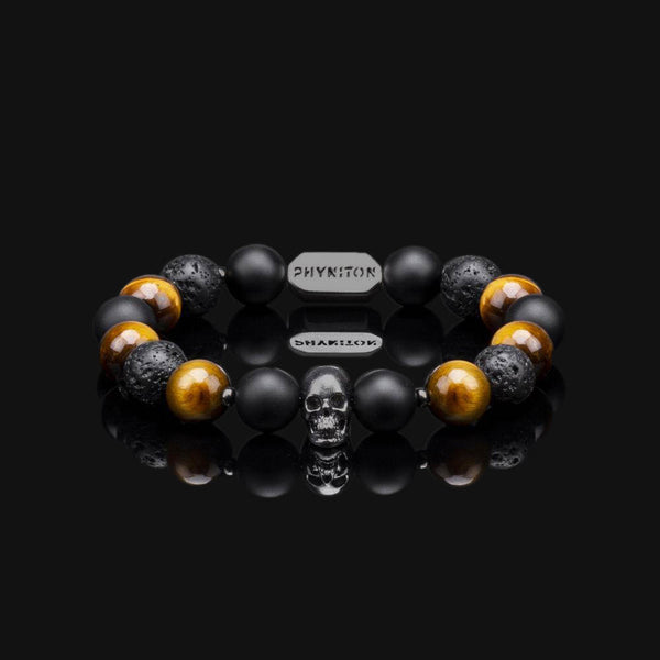 YELLOW TIGER EYE & BLACK GOLD PREMIUM SKULL BRACELET 10 MM