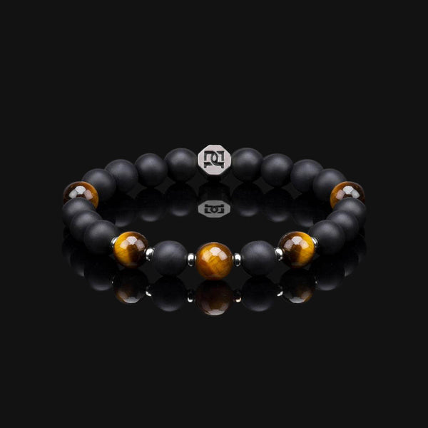 "YELLOW TIGER EYE ESSENTIAL BLACK GOLD 8MM ""EARTH"" BRACELET"
