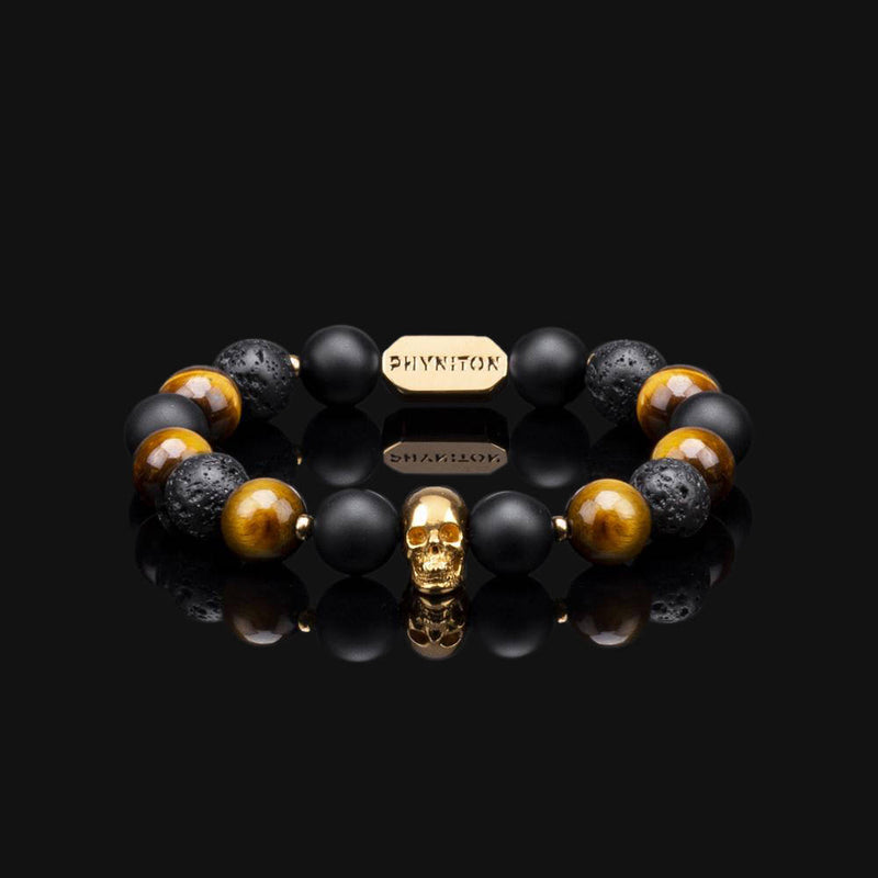 YELLOW TIGER EYE & GOLD PREMIUM SKULL BRACELET 10MM