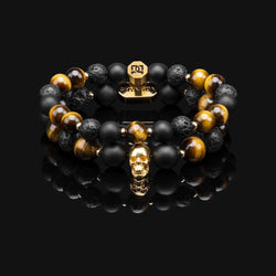 YELLOW TIGER EYE GOLD PREMIUM SKULL STACK 10MM & 8MM