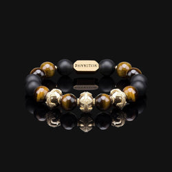 "YELLOW TIGER EYE PREMIUM GOLD 10MM ""EARTH"" BRACELET"