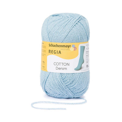 REGIA Cotton Uni - Bleached Blue 100g
