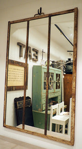Large Rustic Metal Framed Mirror