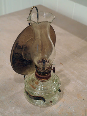 Miniature Glass and Silver Kerosene Lamp