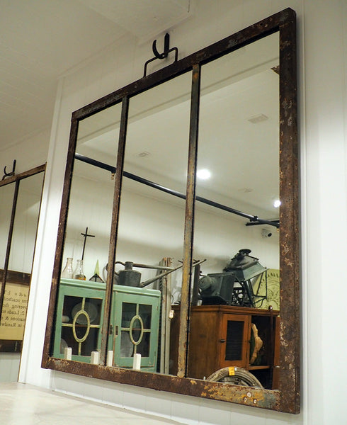 Rustic Metal Framed Mirror