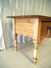 Load image into Gallery viewer, Pine Baker's prep table with drawer on turned legs