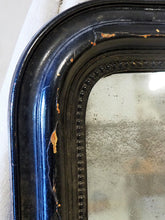 Load image into Gallery viewer, French Antiqued mirror in black timber frame