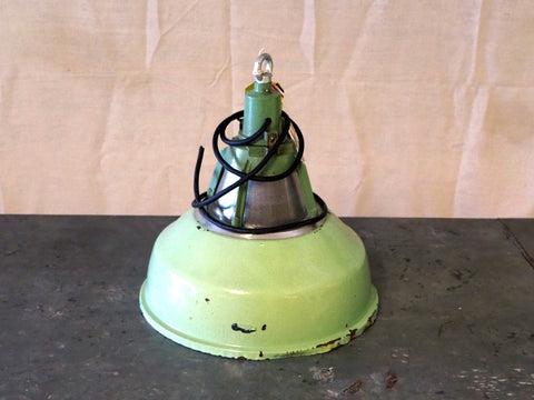 Medium green enamel pendant light