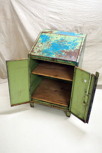 Green Painted Industrial metal cabinet/desk