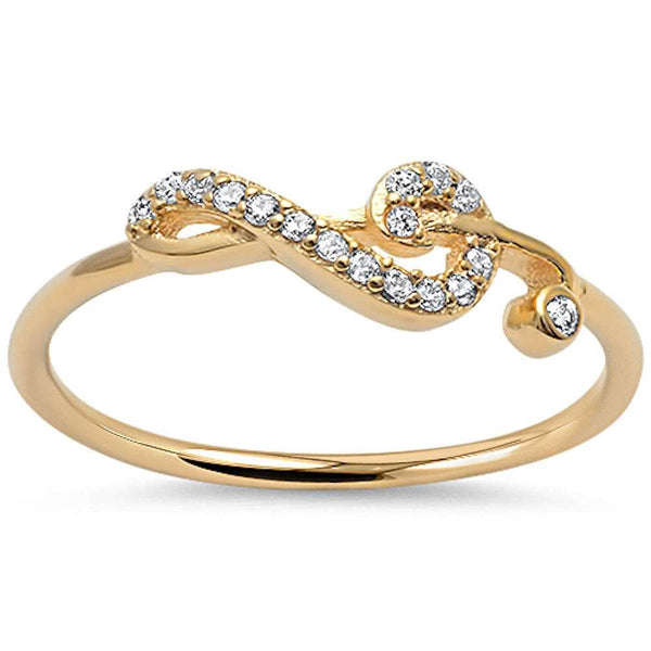 Dainty Gold Treble Clef Music Note Ring