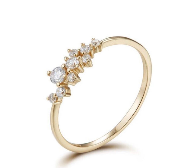 Dainty Gold Cluster Ring