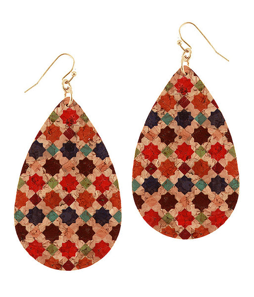 Colorful Moroccan Style Lightweight Cork Earrings