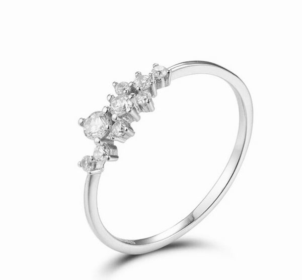 Dainty Silver Cluster Ring