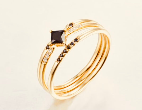 Black and gold dainty 3 layer ring