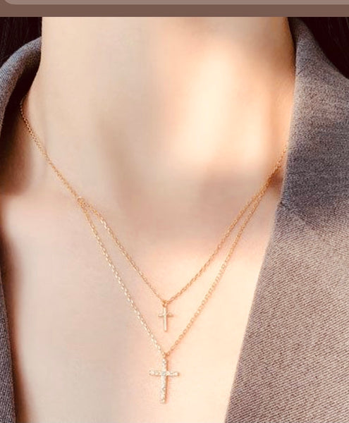 Dainty gold plated double cross necklace