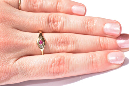Ruby Signet + Two Round Diamonds