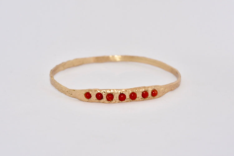 Gold + Red Coral Bangle