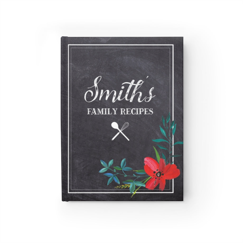 Chalkboard Personalized Family Recipe Journal - Ruled Line