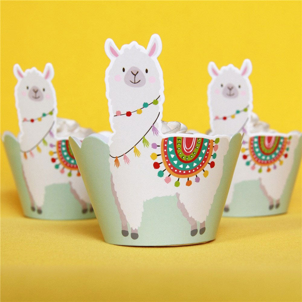 Llama Party Colorful Cupcake Wrappers (Set of 12)-Cupcake Baby Shower, Cupcake Birthday, Llama-Cheery Toppers