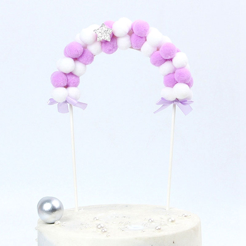 Pompom Balloon Banner (Purple)-baby shower, balloon, unicorn-Cheery Toppers