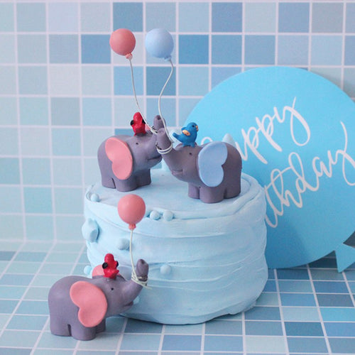 Blue or Pink Elephant with Balloon and Bird Cake Topper-1st birthday, elephant boy-Blue Elephant and Bird-Cheery Toppers