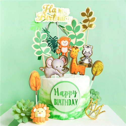 Baby Shower or Birthday Jungle Cake Topper Set-Forest, jungle, Jungle Baby Shower-6 Piece Animal Set-Cheery Toppers