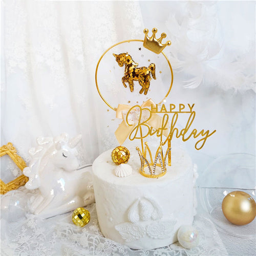 Regal Gold Unicorn Cake Toppers-bat mitzvah, Quinceanera, Unicorn-1 Piece Unicorn-Cheery Toppers