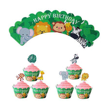 "Load image into Gallery viewer, ""Happy Birthday"" Jungle Cupcake Wrappers and Toppers-1st birthday, Cupcake Birthday, Jungle-Cheery Toppers"
