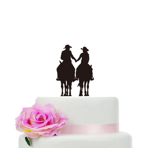 Country Horseback Riding Wedding Cake Topper