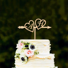 Load image into Gallery viewer, Personalized Initials Heart Arrow Wedding Cake Topper