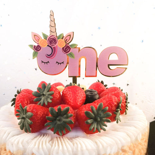 ONE Unicorn Cake Topper-1st birthday, unicorn, unicorn 1st birthday, unicorn birthday-Cheery Toppers