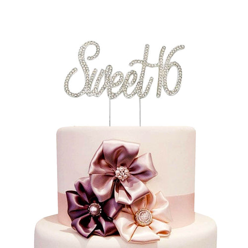 Sparkling Rhinestones Sweet 16 Cake Topper (Gold/Silver)-sweet sixteen-Gold-Cheery Toppers