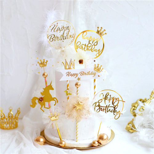 Royal Unicorn Cake Topper Set-Unicorn-1 Piece Gold Unicorn-Cheery Toppers
