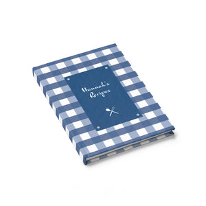 Blue Gingahm Pattern Personalized Journal - Ruled Line