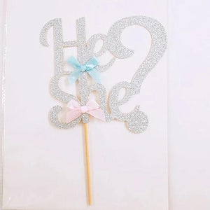 He or She? Gender Reveal Gold/Silver Glitter Baby Shower Cake Topper-gender reveal-Silver-Cheery Toppers