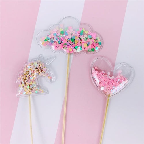 Encased Sequin Princess/Unicorn Cake Toppers