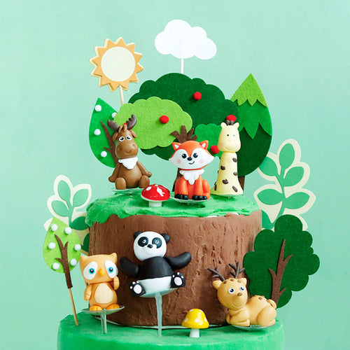 Forest Animals and Trees Cake Topper-Forest, Forest Baby Shower-Moose-Cheery Toppers