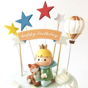 Prince Fox and Rose Gold/Blue Birthday Cake Toppers