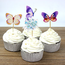 Load image into Gallery viewer, Enchanted Forest Butterfly Cupcake Toppers (24pcs)