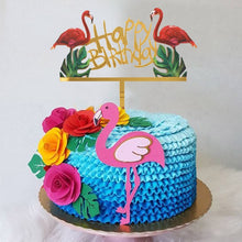 "Load image into Gallery viewer, ""Happy Birthday"" Tropical Flamingos Cake Topper-""happy birthday"", flamingo-Cheery Toppers"